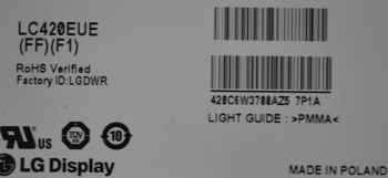 LCD панель LC420EUE(FF)(F1)   Шасси TPM10.1E LA