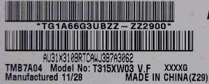 матрица T315XW03 V.F