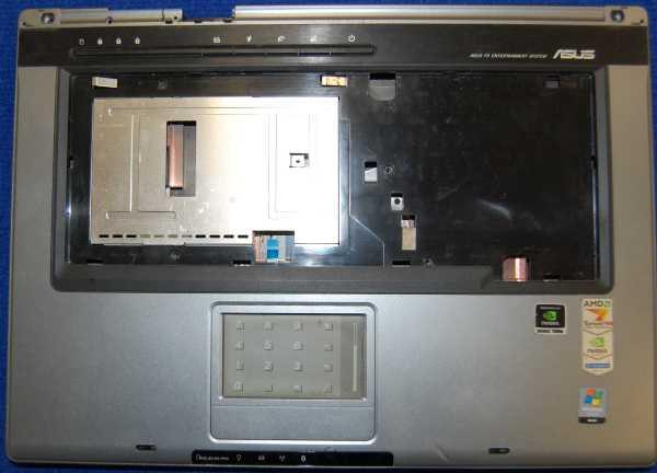 Нижняя часть корпуса с тачпадом, динамиками от ноутбука ASUS F5N