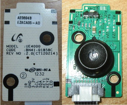 Power Button Board BN41-01858C от телевизора Samsung UE26EH4030W, UE32EH4000W